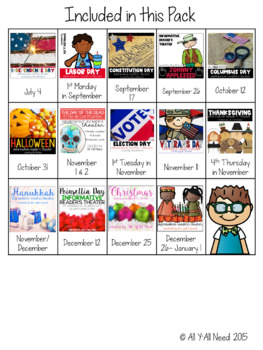 Holidays July to December Informative Reader's Theater (set 1)