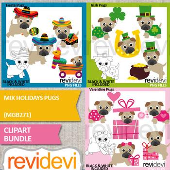 Holidays Pugs Clip Art Bundle