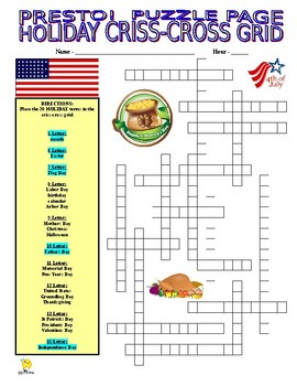 Holidays Puzzle Page (Wordsearch and Criss-Cross) - 2 Puzzles!