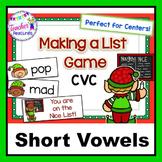 Santa's Workshop Elf Game CVC & SHORT VOWELS