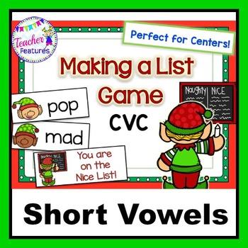 Holidays Seasonal Literacy: CVC Short Vowel Game (Elf List Theme)