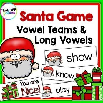 Holidays Seasonal Literacy: Vowel Team Game (Santa Theme)