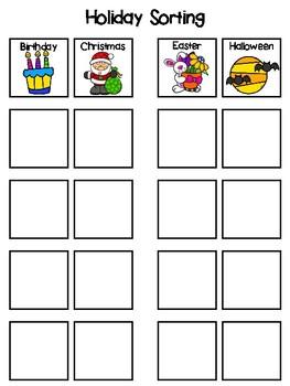 Holidays Sorting Interactive Board