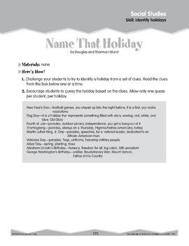 Holidays (Ten-Minute Activities)