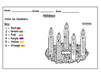 Holidays Themed Color by Numbers Worksheets Christmas Kwanzaa  Hanukkah: