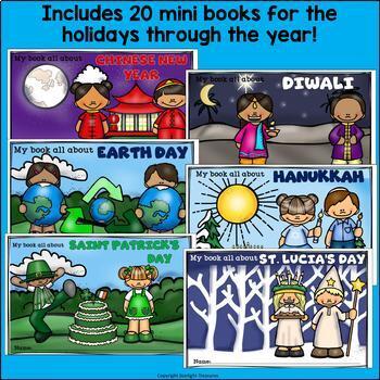 Holidays Through The Year Mini Book Bundle: 20 Mini Books