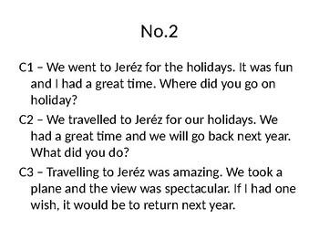 Holidays Translations for Spanish GCSE