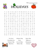 Holidays Word Search