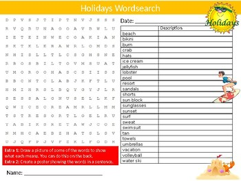 Holidays Wordsearch Sheet Starter Activity Keywords Travel Tourism