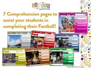 Holidays and Celebrations Around the World Factballs and Comprehension Sheets