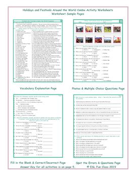 Holidays and Festivals Around the World Combo Activity Worksheets