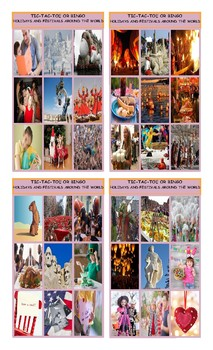 Holidays and Festivals Around the World Tic-Tac-Toe or Bingo
