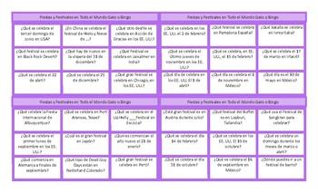 Holidays and Festivals Spanish Tic-Tac-Toe or Bingo Game