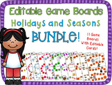 Holidays and Seasons Game Board Bundle {Editable Cards}