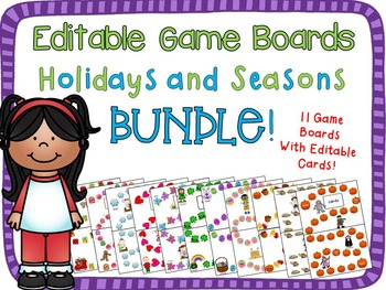 Holidays and Seasons Game Board Bundle {Editable Cards}