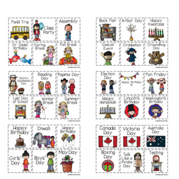 Holiday Calendar Cards with Special Days and Events
