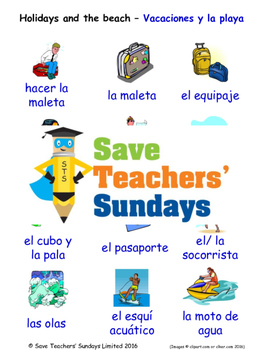 Holidays and The Beach in Spanish Worksheets, Games, Activ