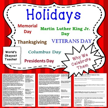 Holidays and Why We Celebrate Them