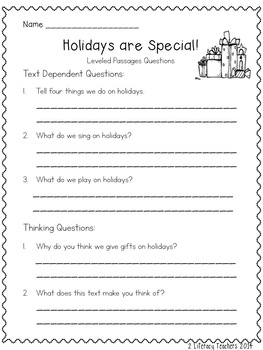 Holidays are Special! CCSS Aligned Leveled Reading Passages and Activities