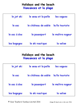 Holidays in French Worksheets