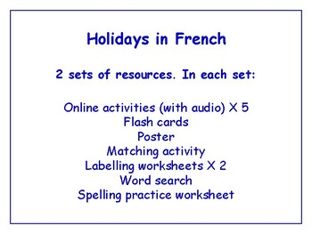 Holidays in French Worksheets, Games, Activities & More (with audio) Bundle