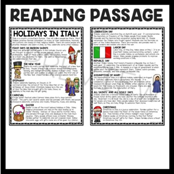 Holidays in Italy Reading Comprehension Worksheet