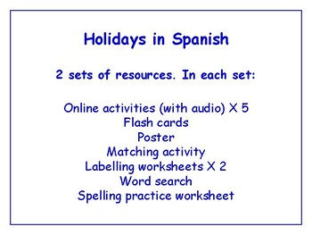 Holidays in Spanish Worksheets, Games, Activities & More (with audio) Bundle