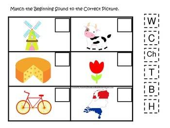 Holland themed Match the Beginning Sound preschool learnin