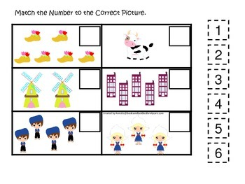Holland themed Match the Number preschool printable.  Homeschool daycare.
