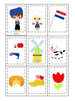Holland themed Memory Matching preschool learning game.  Daycare.