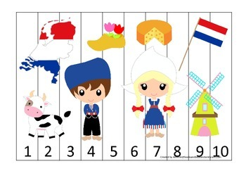 Holland themed Number Sequence Puzzle preschool learning game.  Daycare.