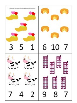 Holland themed Numbers Clip it Cards preschool math learning activity.