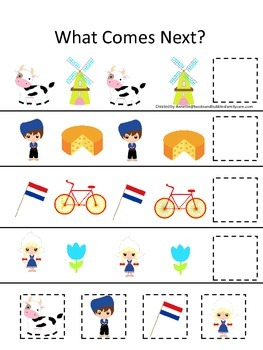 Holland themed What Comes Next preschool educational learning game.  Daycare.