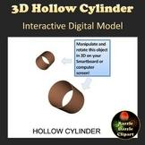 Hollow Cylinder 3D Shape Digital Model for Whiteboards and Smartboards