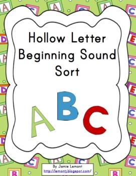 Hollow Letter Beginning Sound Sort