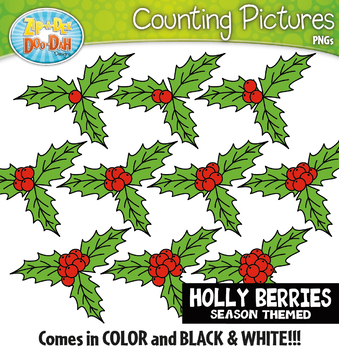 Holly Berries Counting Pictures Clipart {Zip-A-Dee-Doo-Dah Designs}