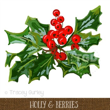 Holly Berry Cluster Clip Art Printable Tracey Gurley Designs