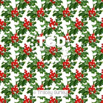 Holly Berry Cluster on White digital paper Printable Trace
