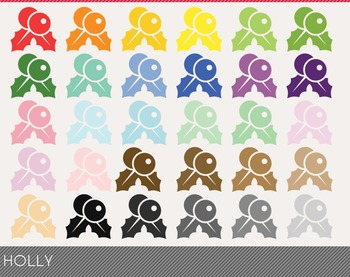 Holly Digital Clipart, Holly Graphics, Holly PNG, Rainbow Holly Digital Files