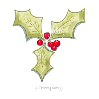 Holly Holiday Original Art Download, Printable Tracey Gurley Designs