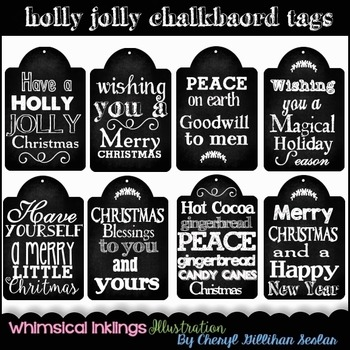 Holly Jolly Chalkboard Tags for Christmas