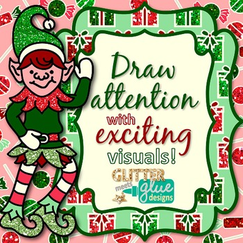 Holly Jolly Christmas Frame Clip Art {Labels for Task Card, Brag Tag, Resources}
