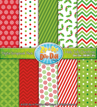 Holly Jolly Christmas Digital Scrapbook Pack (10 Pages)