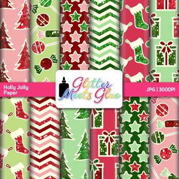 Holly Jolly Christmas Clip Art {Scrapbook Background for T