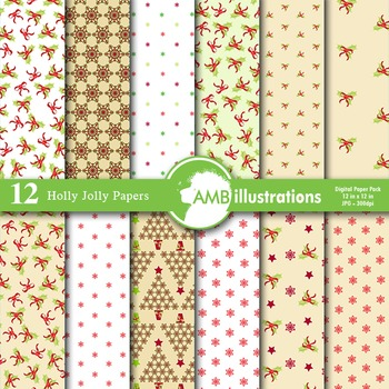 Digital Papers - Holly Jolly Christmas papers and backgrou