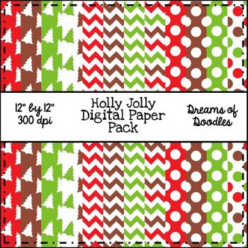Holly Jolly Digital Paper Pack