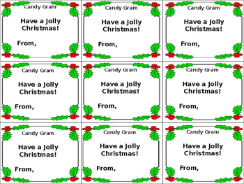 Holly Jolly Gift Tag or Candy Gram