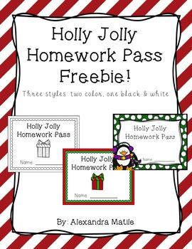 Holly Jolly Homework Pass Freebie