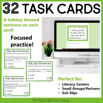 Free Holly Jolly Homophone Task Cards | Homophones