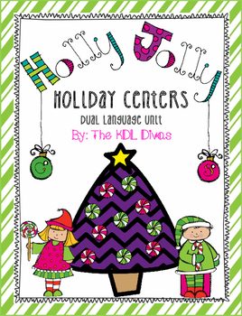 Holly Jolly Literacy and Math Holiday Centers for Dual Language